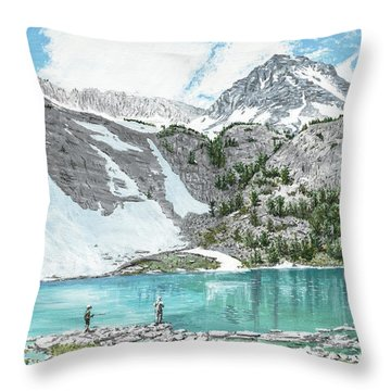 Throw Pillow featuring the painting Fishing Gem Lake by Kevin Daly