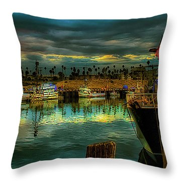 Fishing Harbor At Sunset Throw Pillow