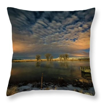 Fishing Hole At Night Throw Pillow