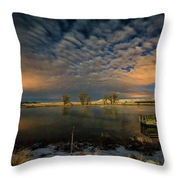 Fishing Hole At Night Throw Pillow