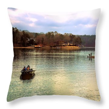 Throw Pillow featuring the photograph Fishing Hot Springs Ar by Diana Mary Sharpton