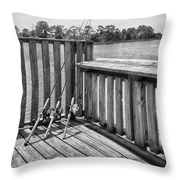 Throw Pillow featuring the photograph Fishing by Howard Salmon