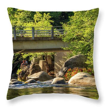 Fishing In Deer Creek Throw Pillow by James Eddy
