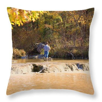 Throw Pillow featuring the photograph Fishing In Fall by Sheila Brown