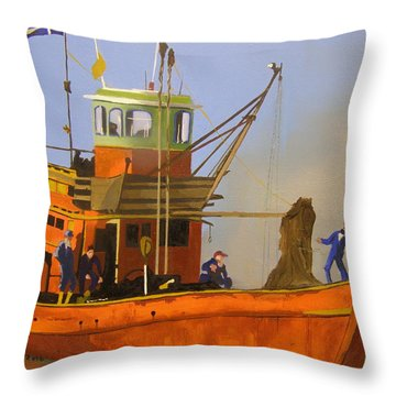 Fishing In Orange Throw Pillow