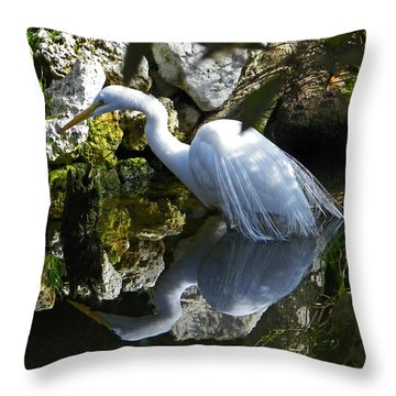Fishing In The Creek  Color Throw Pillow by Judy Wanamaker