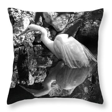 Fishing In The Creek In Black And White Throw Pillow by Judy Wanamaker