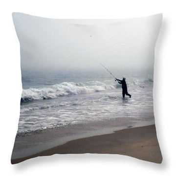 Fishing In The Fog Throw Pillow by Mikki Cucuzzo