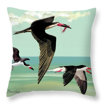Throw Pillow featuring the painting Fishing In The Gulf by Anne Beverley-Stamps