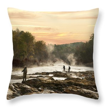 Fishing In The Mist Throw Pillow