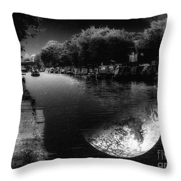 Fishing In The Moonlight Throw Pillow