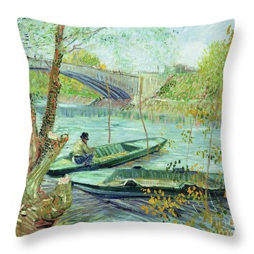 Fishing In The Spring Throw Pillow by Vincent Van Gogh