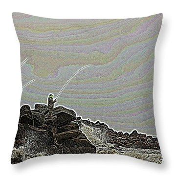Fishing In The Twilight Zone Throw Pillow