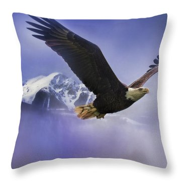 Fishing In Winter Bald Eagle Art Throw Pillow