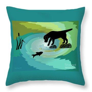 Fishing Labrador Dog Throw Pillow