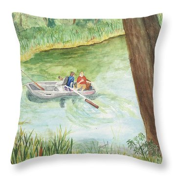 Throw Pillow featuring the painting Fishing Lake Tanko by Vicki  Housel