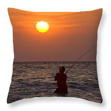 Fishing Lido Beach Throw Pillow