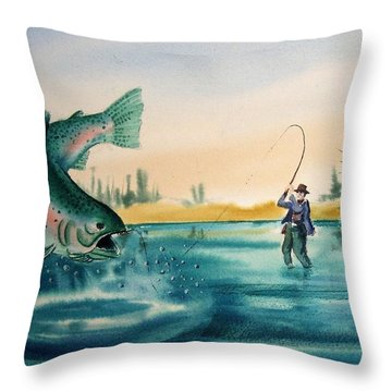 Fishing Montana Throw Pillow by Kevin Heaney