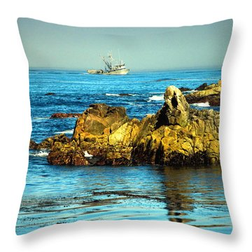 Fishing Monterey Bay Ca Throw Pillow