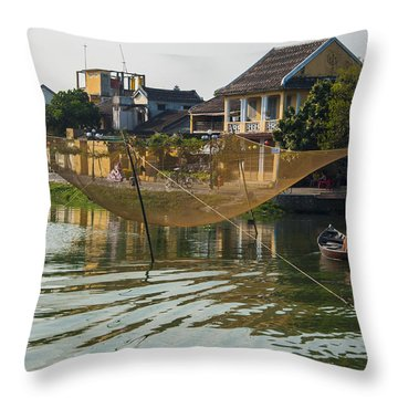 Fishing Net In Vietnam Throw Pillow