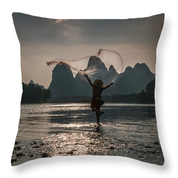 Fisherman Casting A Net. Throw Pillow