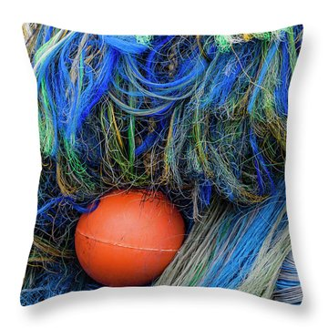 Fishing Nets And Buoy Throw Pillow