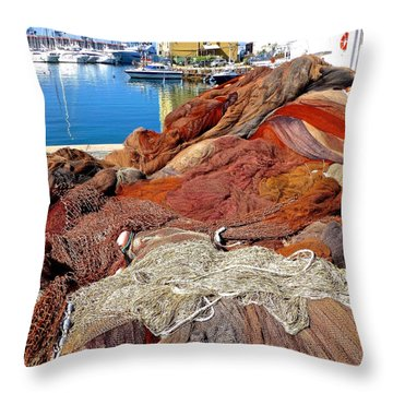 Fishing Nets Genoa Harbor Throw Pillow by Amelia Racca