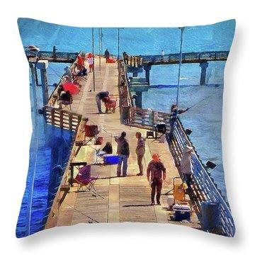 Fishing Off Galvaston Pier Throw Pillow