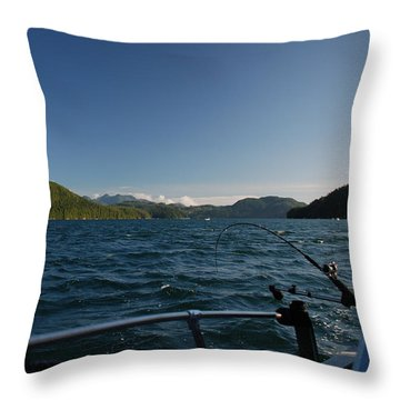 Fishing Off Hisnit Inlet Throw Pillow