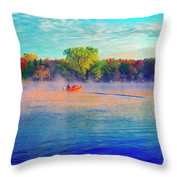 Fishing On Crystal Lake, Il., Sport, Fall Throw Pillow