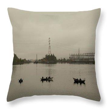 Fishing On Foggy Columbia River Throw Pillow