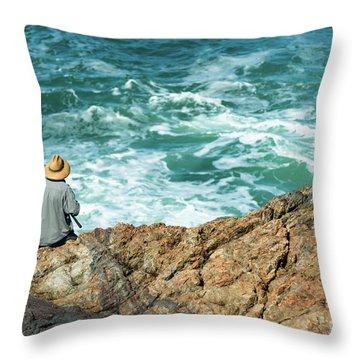 Fishing On Mutton Bird Island Throw Pillow