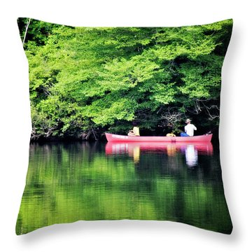 Fishing On Shady Throw Pillow by Lana Trussell