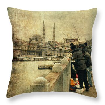 Fishing On The Bosphorus Throw Pillow