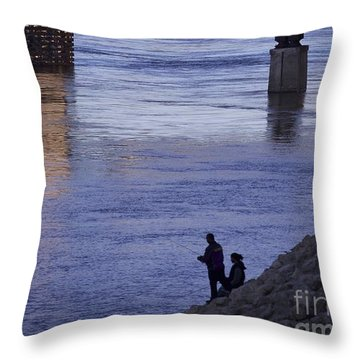 Fishing On The Mississippi River Throw Pillow