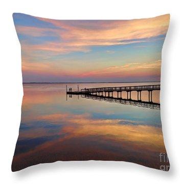 Fishing Pier Duck Obx Throw Pillow