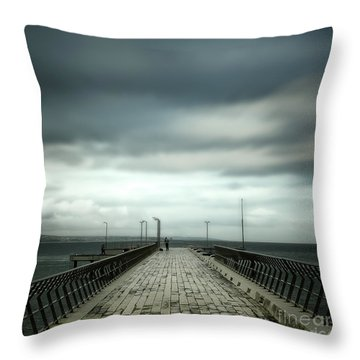 Throw Pillow featuring the photograph Fishing Pier by Perry Webster