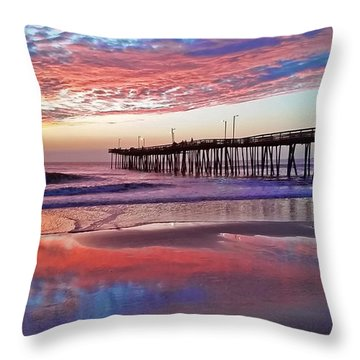 Fishing Pier Sunrise Throw Pillow by Suzanne Stout
