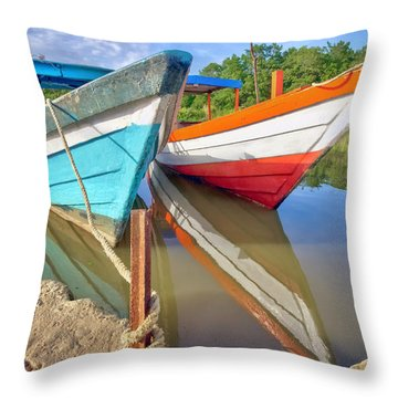 Fishing Pirogues  Throw Pillow by Nadia Sanowar