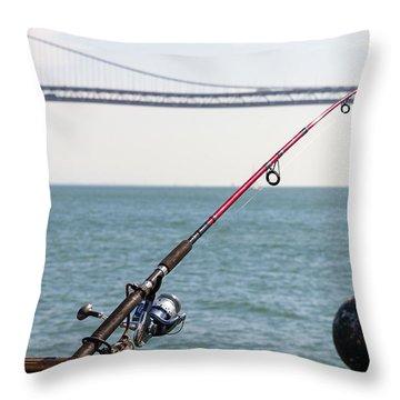 Fishing Rod On The Pier In San Francisco Bay Throw Pillow