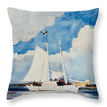 Fishing Schooner In Nassau Throw Pillow