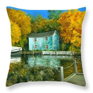 Fishing Shanty Throw Pillow