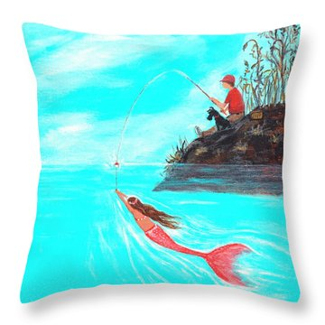 Throw Pillow featuring the painting Fishing Surprise by Leslie Allen