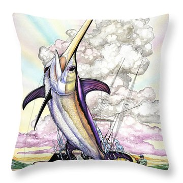 Fishing Swordfish Throw Pillow