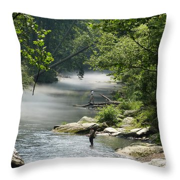 Fishing The Gunpowder Falls Throw Pillow by Donald C Morgan