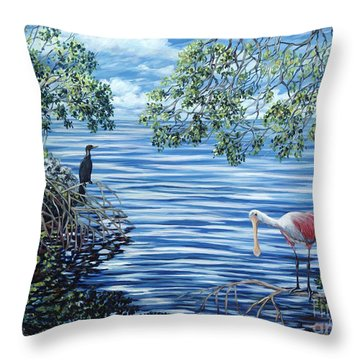 Fishing The Mangroves Throw Pillow