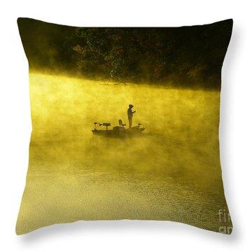 Fishing The Prettyboy Reservoir Throw Pillow