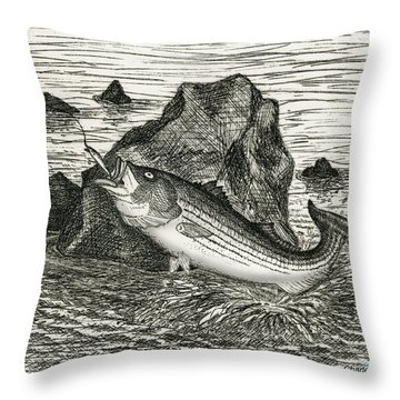 Throw Pillow featuring the photograph Fishing The Rocks by Charles Harden