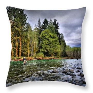 Fishing The Run Throw Pillow
