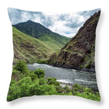 Fishing The Snake Waterscape Art By Kaylyn Franks Throw Pillow